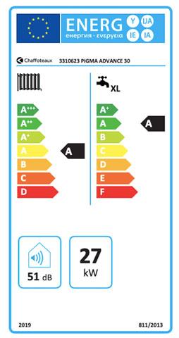 etiqueta de eficiencia energetica caldera chaffoteaux pigma advance 35