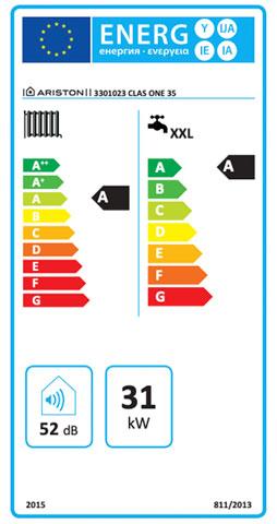 etiqueta de eficiencia energetica caldera ariston clas one 35 ff