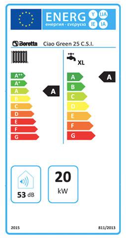 etiqueta de eficiencia energetica caldera beretta ciao green 25 csi