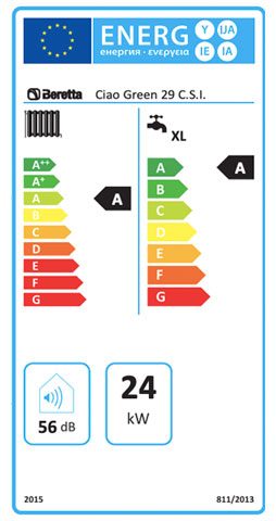etiqueta de eficiencia energetica caldera beretta ciao green 29 csi