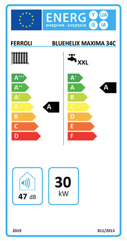 etiqueta de eficiencia energetica caldera ferroli bluehelix maxima 34 c