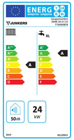 etiqueta de eficiencia energetica caldera junkers cerapur comfort zwbe 25/30-3c