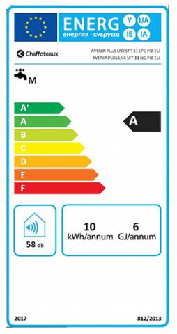 etiqueta de eficiencia energetica calentador chaffoteaux avenir plus lnx 11sft eu