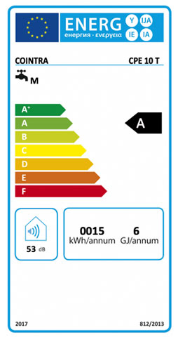 etiqueta de eficiencia energetica calentador cointra premium cpe 10 t