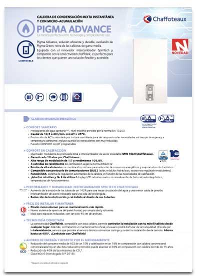 folleto caldera chaffoteaux pigma advance 25