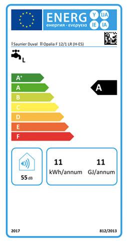 etiqueta de eficiencia energetica calentador saunier duval opalia f 12