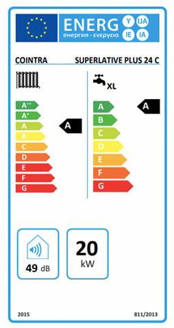 etiqueta de eficiencia energetica caldera cointra superlative plus 24 c