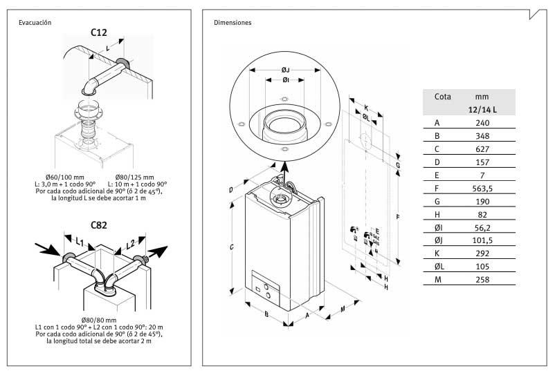 medidas calentador saunier duval opalia estanco